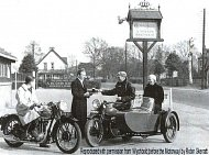 Motorcycles outside the Crown Hotel in 1938