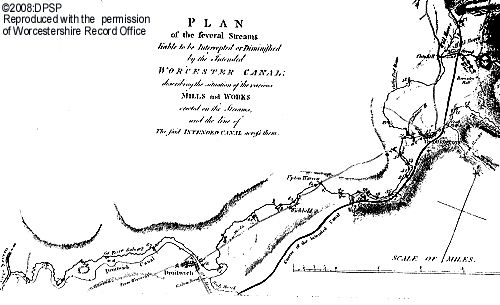The Proposed canal through Wychbold in detail